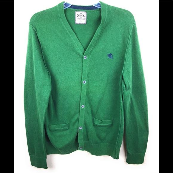 Express Sweaters Mens Cardigan Sweater Pockets Small Green Poshmark
